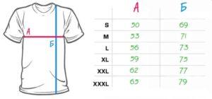 Снимка на таблица с размери на памучните мъжки тениски за работа с къс ръкав.