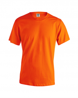 Снимка към продукта оранжева мъжка памучна тениска за работа с къс ръкав.