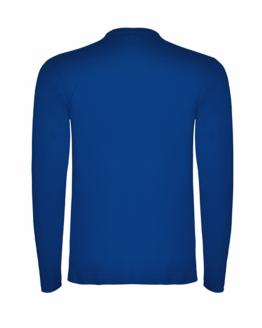 Синя памучна тениска с дълъг ръкав в гръб, снимка за социална медия.