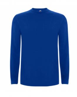 Дрехи Синя памучна тениска с дълъг ръкав в анфас, снимка за социална медия.