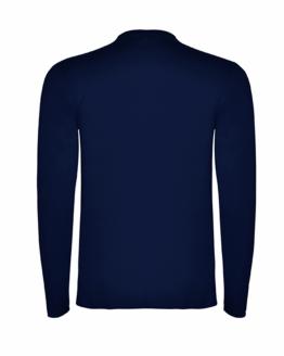 Тъмно синя памучна тениска с дълъг ръкав в гръб, снимка за социална медия.