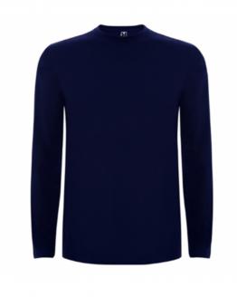 Тъмно синя памучна тениска с дълъг ръкав в анфас, снимка за социална медия.