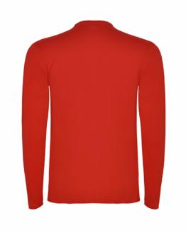 Червена памучна тениска с дълъг ръкав в гръб, снимка за социална медия.