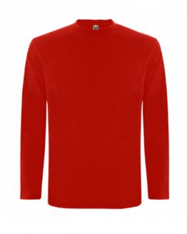 Червена памучна тениска с дълъг ръкав в анфас, снимка за социална медия.