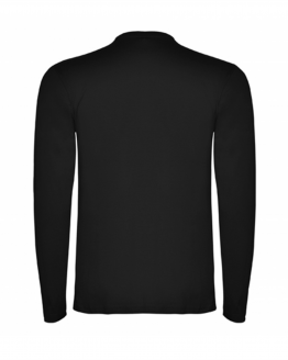 Черна памучна тениска с дълъг ръкав в гръб, снимка за социална медия.